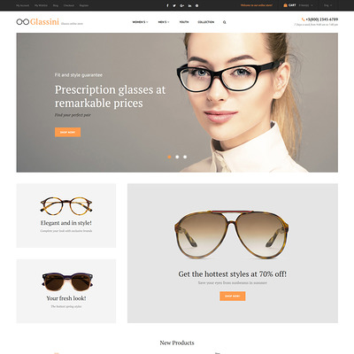 Glassini Magento Theme (Magento theme for selling sunglasses) Item Picture