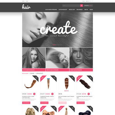 Hair Extensions Store PrestaShop Theme (PrestaShop theme for hair extensions and hair products) Item Picture