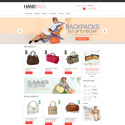 Handbag Responsive Magento Theme (Magento theme for selling handbags and purses) Item Picture