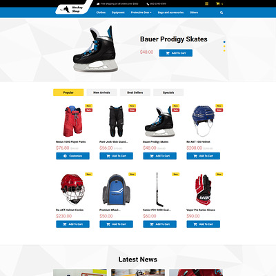 Hockey Shop PrestaShop Theme (PrestaShop theme for sports stores) Item Picture