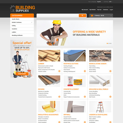 Home Repairs Responsive Magento Theme (Magento theme for home improvement and construction supply stores) Item Picture