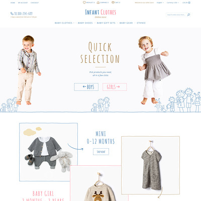 Infant Clothes Magento Theme (Magento theme for kids, babies, and children) Item Picture