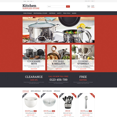 Kitchen Supplies Store PrestaShop Theme (PrestaShop theme for housewares and kitchen supplies) Item Picture