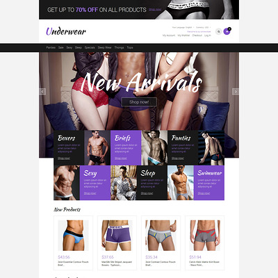 Men's Underwear Responsive Magento Theme (Magento theme for selling lingerie and underwear) Item Picture