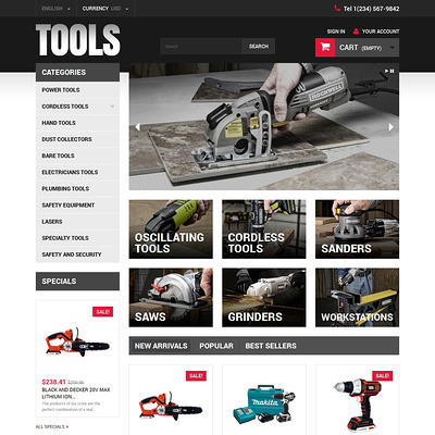 Online Tools PrestaShop Theme (PrestaShop theme for selling tools) Item Picture