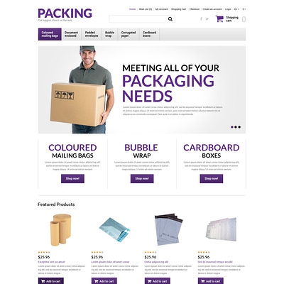 Packing Products Store OpenCart Template (OpenCart theme for stationery, business cards, and office supplies) Item Picture