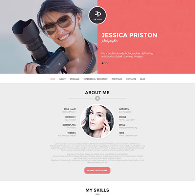 Photographer CV WordPress Theme (WordPress theme for photogaphers) Item Picture