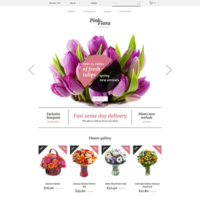 Pink Flora PrestaShop Theme (PrestaShop theme for florists and flower shops) Item Picture