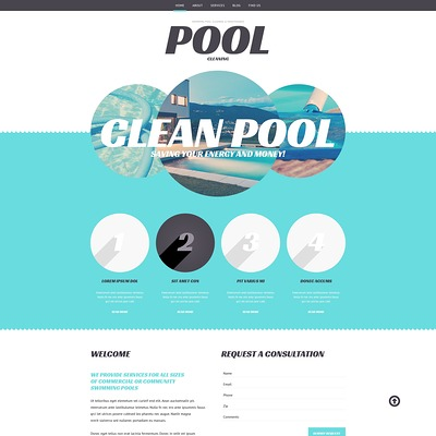 Pool Cleaning Business WordPress Theme (WordPress theme for pool cleaning companies and services) Item Picture