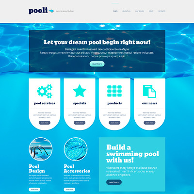 Pool Cleaning Responsive WordPress Theme (WordPress theme for pool cleaning companies and services) Item Picture
