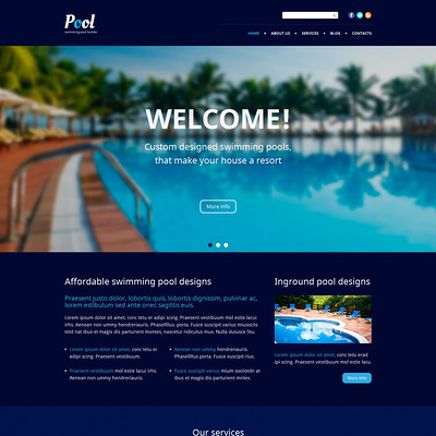 Pool Cleaning WordPress Theme (WordPress theme for pool cleaning companies and services) Item Picture