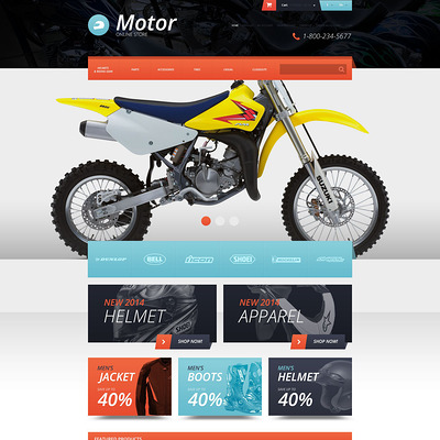 Protective Moto Equipment OpenCart Template (OpenCart theme for automotive, car, and vehicle stores) Item Picture