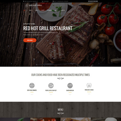 Red Hot Grill Restaurant WordPress Theme (WordPress theme for restaurants) Item Picture