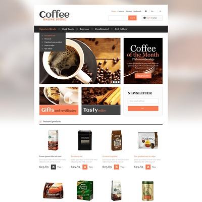 Responsive Coffee Store PrestaShop Theme (PrestaShop theme for tea and coffee) Item Picture