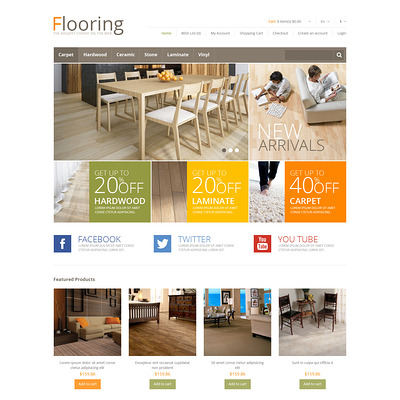 Responsive Flooring Store OpenCart Template (OpenCart themes for flooring stores) Item Picture
