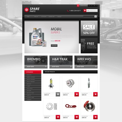 Responsive Spares Store OpenCart Template (OpenCart theme for automotive, car, and vehicle stores) Item Picture