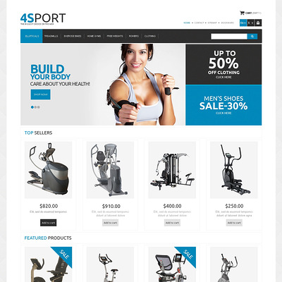 Responsive Sport Store PrestaShop Theme (PrestaShop theme for sports stores) Item Picture