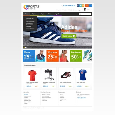 Responsive Sports Store PrestaShop Theme (PrestaShop theme for sports stores) Item Picture