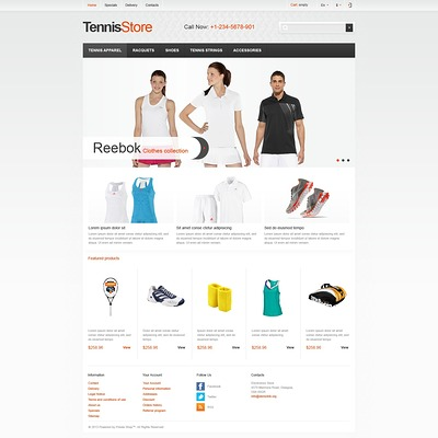 Responsive Tennis Store PrestaShop Theme (PrestaShop theme for sports stores) Item Picture