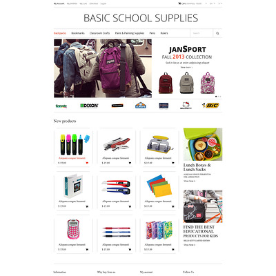School Supplies Magento Theme (Magento theme for office supplies and stationery) Item Picture