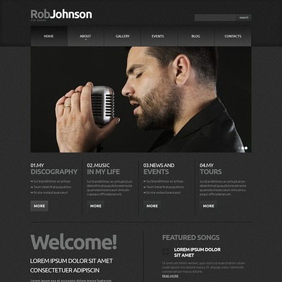 Singer Responsive Joomla Template (Joomla template for music websites) Item Picture