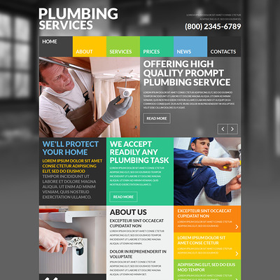 Skilled Plumbers Joomla Template (Joomla template for construction companies) Item Picture