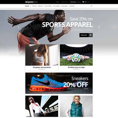 Sports Clothes Equipment PrestaShop Theme (PrestaShop theme for sports stores) Item Picture