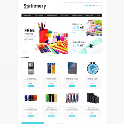 Stationery Responsive OpenCart Template (OpenCart theme for stationery, business cards, and office supplies) Item Picture