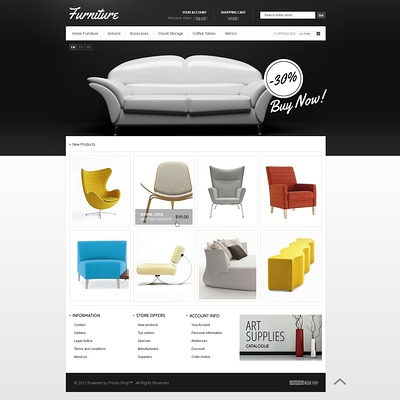 Stylish Furniture PrestaShop Theme (PrestaShop theme for furniture stores) Item Picture