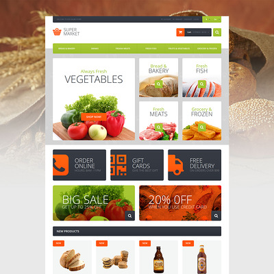 Supermarket Template Magento Theme (Magento theme for selling food and spices) Item Picture