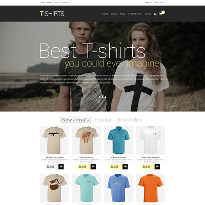 T-Shirts PrestaShop Theme (PrestaShop theme for t-shirt stores) Item Picture