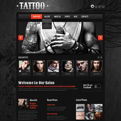 Tattoo Salon WordPress Theme (WordPress theme for tattoo studios) Item Picture