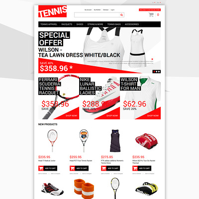 Tennis Dress Supplies Magento Theme (Magento theme for sports stores) Item Picture