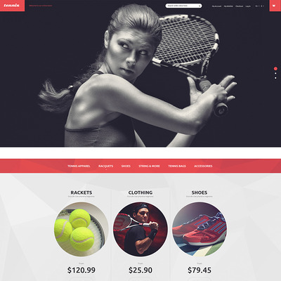 Tennis Equipment Magento Theme (Magento theme for sports stores) Item Picture