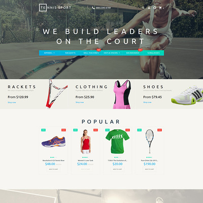 Tennis Sport PrestaShop Theme (PrestaShop theme for sports stores) Item Picture