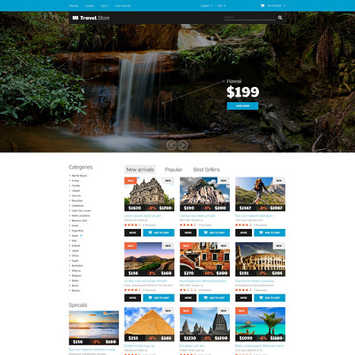 Thrilling Adventures PrestaShop Theme (PrestaShop themes for travel and tourism companies) Item Picture