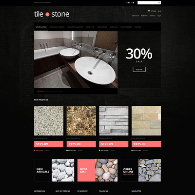 Tile Stone Store Magento Theme (Magento theme for flooring stores) Item Picture