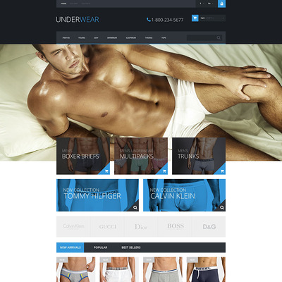 Underwear for Men PrestaShop Theme (PrestaShop theme for mens underwear) Item Picture