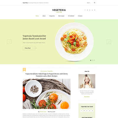 Vegetarian Restaurant Blog WordPress Theme (WordPress theme for restaurants) Item Picture