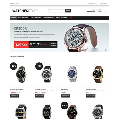 Watches Shop PrestaShop Theme (PrestaShop theme for watch stores) Item Picture