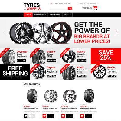 Wheels and Tyres Magento Theme (Magento theme for car, automotive, and vehicle stores) Item Picture