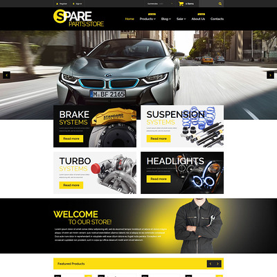 Auto Parts Responsive Shopify Theme (parallax Shopify theme) Item Picture