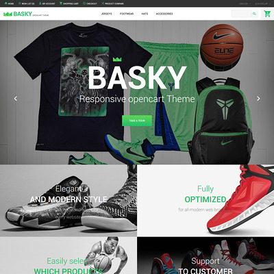 Basky OpenCart Template (OpenCart theme for sports, gym, and fitness stores) Item Picture