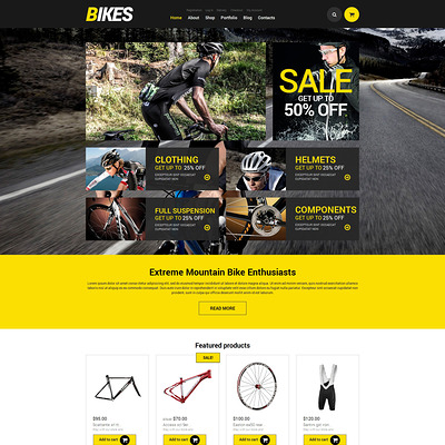 Bikes WooCommerce Theme WooCommerce Theme (WooCommerce theme for sports, gym, and fitness stores) Item Picture