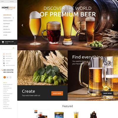 Brewery Responsive OpenCart Template (OpenCart theme for selling liquor, wine, and beer) Item Picture