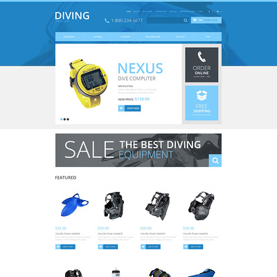 Diving Responsive OpenCart Template (OpenCart theme for marine, yachting, fishing, and diving stores) Item Picture