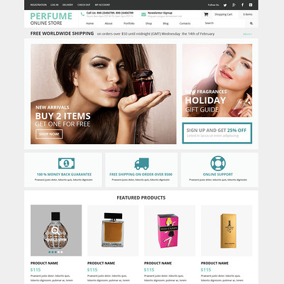 Fragrance Shop WooCommerce Theme (WooCommerce theme for selling perfumes, hair products, and cosmetics) Item Picture