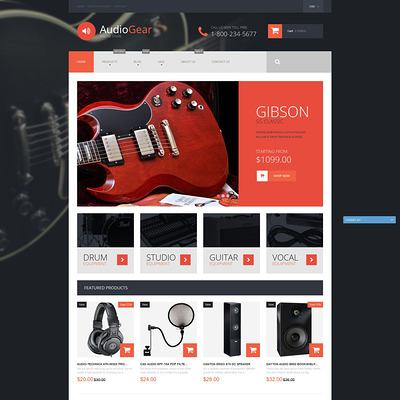 Musical Instruments Shopify Theme (parallax Shopify theme) Item Picture