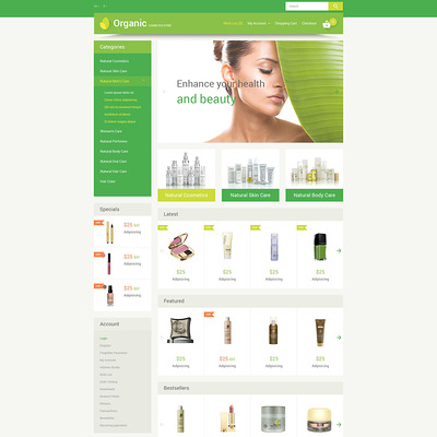 Organic Cosmetics OpenCart Template (OpenCart theme for selling cosmetics, hair products, and perfumes) Item Picture