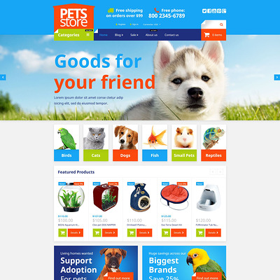 Pet Shop Responsive Shopify Theme (parallax Shopify theme) Item Picture